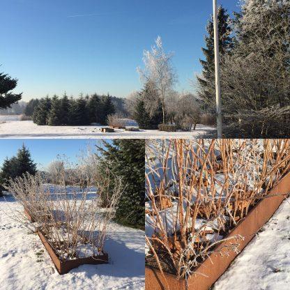 Große Hochbeete aus Land im Schnee